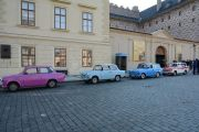 Trabant Paris and James Dean and Salvator and Red-and-White at Prague Castle square